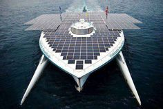 This is a picture of the first boat which is sailing round the world by using Solar Energy