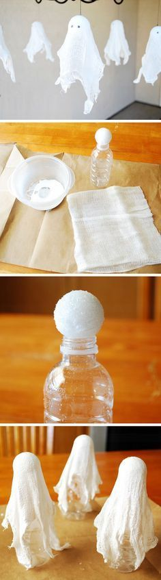 DIY Hanging Cheesecloth Ghosts | Click Pic for 27 DIY Halloween Decorating Ideas for Kids | Easy Halloween Party Decor Ideas for Kids http://blog.consumercrafts.com/kids-stuff/hanging-cheesecloth-ghosts/