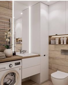 Great DIY renovations, and makeover tips including organization and storage solutions for large and small bathroom in your house. Bathroom Spa, Bathroom Toilets, Laundry In Bathroom, Modern Bathroom, Bathroom Things, Compact Bathroom, Narrow Bathroom, Small Laundry, Industrial Bathroom