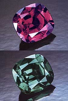 Alexandrite From Russia — Pala international | This 1.29-carat Russian alexandrite displays the change-of-color that has made stones from this deposit so famous. From the Mary Murphy collection.