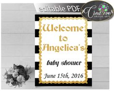 Baby Shower WELCOME sign editable with black stripes color theme printable, glitter gold, digital files, pdf jpg, instant download - bs001 #babyshowergames #babyshower