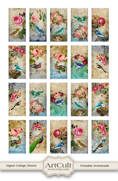 ROSES AND BIRDS   1x2 inch Digital Collage Sheet  by ArtCult, $4.60