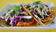 Sweet Potato and Black Bean Tacos with Cilantro Cabbage Slaw - Quick, filling and crowd-pleasing, with ingredients that are fresh year-round. Serves Sub 20 drops stevia for sugar, and serve in sprouted grain tortillas. Fast Metabolism Recipes, Fast Metabolism Diet, Vegetarian Tacos, Vegetarian Cabbage, Veggie Recipes, Whole Food Recipes, Healthy Recipes, Veggie Meals, Healthy Foods