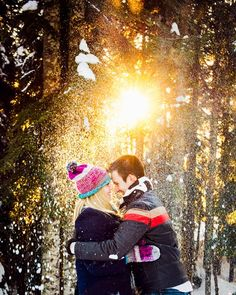 Sunny + snowy Grouse Mountain engagement shoot by http://bakephotography.com
