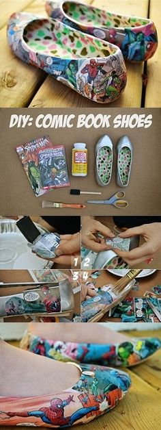 Comic Book Shoes – Tutorial...Tay would love these!
