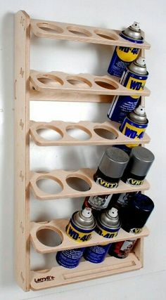20 Can Spray Paint or Lube Can Wall Mount Storage Holder Rack - Woodworking Shop Organization dress vintage dress aesthetic dress art crafts ideas materials projects Storage Shed Organization, Garage Workshop Organization, Garage Tool Storage, Workshop Storage, Garage Tools, Diy Storage, Spray Paint Storage, Wood Storage Rack, Trailer Storage