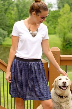 @Joe Fresh tshirt and skirt with a statement necklace www.etsy.com/shop/csvintagegems