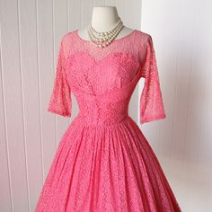 vintage 1950's dress ...quintessential CORAL PINK lace by traven7