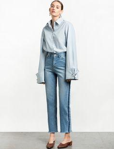 Side Stripe Denim Crop Jeans - Two Tone Jeans