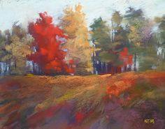 Autumn Foliage Mountains 11x14  Original Pastel  by Karen Margulis