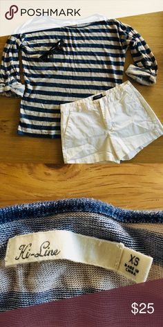 🔥SALE🔥Cream and Blue Striped Ki-line, Madewell Comfortable and cute beige and blue stripes perfect for summer. You can wear it to work or on weekends with jeans and shorts! Only use it once. In a really good condition. Madewell Tops Tees - Long Sleeve