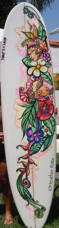 Surreal Fish and Flower Surfboard