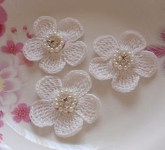 3 Crochet Flowers With Rhinestone Pearl 2 inches YH by YHcrochet