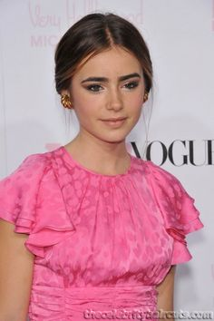 Lily Collins Low Bun Middle Part