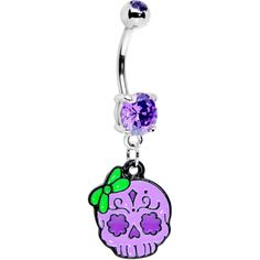 Purple Gem Bow Sugar Skull Belly Ring (With a lime green barbell to go in my inverse!)