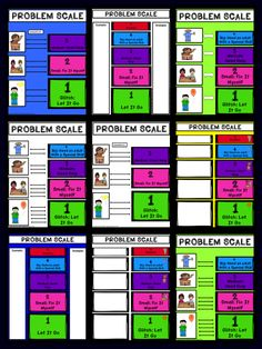 "Problem Size Scales! 12 Scales, Chose A Problem Size Scale To Suite Your Needs! Scale 3 addresses problem sizes 1-3 (let it go-ask for help). Scale 4 addresses problem sizes 1-4 (let it go-need an adult with ""special skills, i.e. doctor, for help). Scale 5 addresses problem sizes 1-5 (let it go-disaster!). Scale 5 No Pictures addresses problem sizes 1-5 without pictures and with boxes to write in examples of problems and strategies, great for older children."