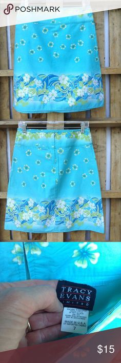 "Tracy Evans floral print sky blue skirt Beautiful blue fabric. Back zipper. 100% cotton  20"" ↕️ 14.5"" ↔️ waist Tracy Evans Skirts"