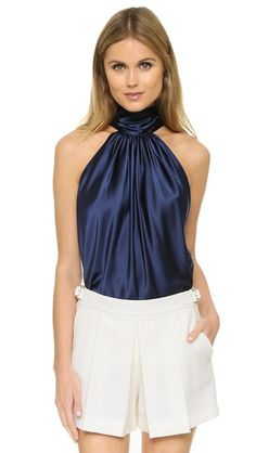 Ramy Brook Women's Paige Top, Navy, Large for sale Sexy Blouse, Blouse And Skirt, Beautiful Blouses, Beautiful Outfits, Diane Von Furstenberg, Satin Blouses, Blouse Styles, Silk Top, Lace Tops