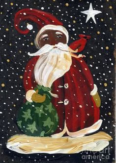 African American Santa Claus Print by Sylvia Pimental . All prints are professionally printed, packaged, and shipped within 3 - 4 business days. Choose from multiple sizes and hundreds of frame and mat options. Black Christmas, Christmas Makes, Christmas Art, All Things Christmas, Christmas Holidays, Christmas Decorations, Happy Holidays, Soulful Christmas, African Christmas