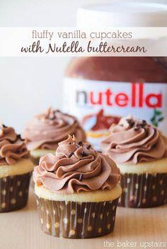 Fluffy Vanilla Cupcakes with Nutella Buttercream