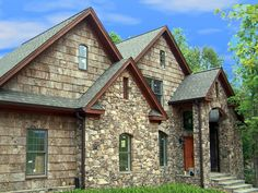 Using Bark shingles for siding is a great eco-option for home building or renovation. It is a natural material engineered by nature to protect. Stone Exterior, Exterior Siding, Wood Shingles, Wood Siding, Eco Homes, House Siding, Mountain Modern, Wood Tree, Cabins And Cottages