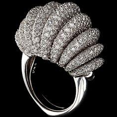 Mattia Cielo - Bruco - Ring 750/1000 white gold - white diamond full pavè ct. 6,51 LJWB167