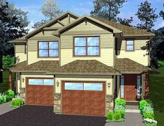 Plan 67718MG: Duplex House Plan For The Small Narrow Lot