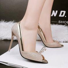 Mujer Taco Zapatos De Tacon Alto Estilo Elegante Y Sexual De Color Dorado ce9155bd0fb0