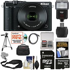 Nikon 1 J5 WiFi Digital Camera  1030mm Lens Black with 64GB Card  Sling Strap  Case  Tripod  Flash  Kit >>> Want additional info? Click on the image.