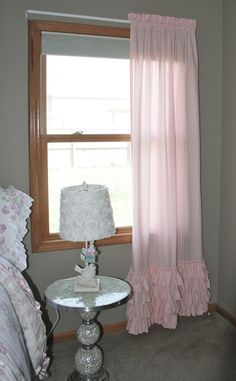 Shabby Chic EMILEE Ruffled Curtain Panel in Light Pink Perfect For Nursery or Little Girl's Rooms with 4 Rows of Ruffles Across the Bottom on Etsy, $70.00
