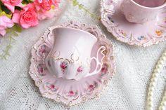 Vintage tea cup set floral porcelain Slav porcelain pink tea
