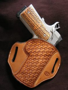"""Gibson Star Basket OWB Holster for 4"""" or 4.25"""" 1911 Commander--Natural, Right-Hand Carry"""