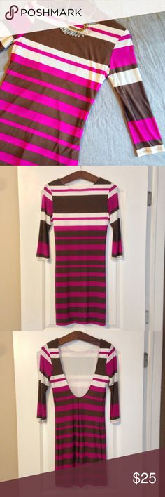 """Striped Bodycon Dress with Plunging Back Striped 3/4 length sleeve Bodycon dress with plunging back from Akira Chicago Black Label Collection. Size: M. Color: Pink, white, brown. Lined. 100% polyester. Approx 33.5"""" from top to bottom hem. Small snag on the inside of the  lining, shown, not visible when wearing the dress. AKIRA Dresses"""