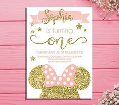 2fdbed960 Minnie mouse first birthday invitation - Minnie Birthday party invitation -  pink and gold 1st birthday invitation - Minnie mouse birthday