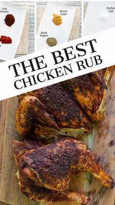 The best chicken dry rub!  This chicken bbq rub is made with only 6 ingredients, and you probably have all of them in your pantry right now!  Loaded with flavor and so easy to make.  Makes grilled or roasted chicken so full of flavor!  Even though I am calling this chicken seasoning, you can use it on pork, beef or seafood! Roast Chicken Rub, Dry Rub For Chicken, Roasted Chicken, Chicken Dips, Rub Recipes, Grilling Recipes, Cooking Recipes, Smoker Recipes, Milk Recipes