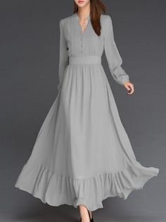 Buy Plain Falbala Fascinating Band Collar Maxi Dress online with cheap prices and discover fashion Maxi Dresses at Fashionmia.com.