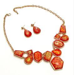 NEW Statement Resin Necklace Dangle Drop Pierced Earring Set Chain BARGAIN US