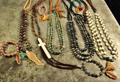 Drop by and see our case of our new authentic American jewelry for your Valentine! Made with American turquoise, buffalo horn, freshwater pearls, blue agate, peacock druzy, and multi colored jade with detailed leather work and beading to create beautiful pieces for Spring! Pendants are large and very stunning! Growing up in the small, south-Texas town of Beeville fostered an early love of all things natural for this Texas based jewelry designer.