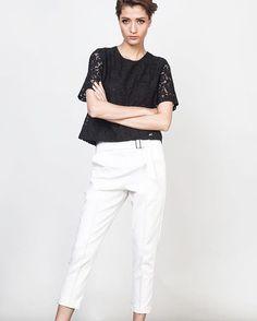 Short sleeve lace blouse (T2064BL) 1,490.- Front belt pants (B3099WH) 1,590.- www.mmchic-th.com | LINE ID: @mmchic