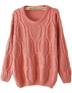 Pink Long Sleeve Mohair Cable Knit Sweater - abaday.com