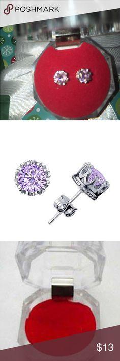PurpleCrystal studded earrings Purple Crystal studded earrings jewelry box included great gift for Christmas Jewelry Earrings