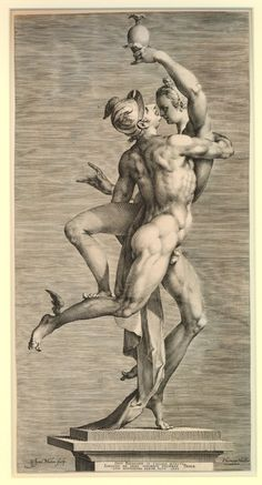 Jan Muller engraving after Adriaen de Vries sculpture, Cupid & Psyche, 1593 British Museum
