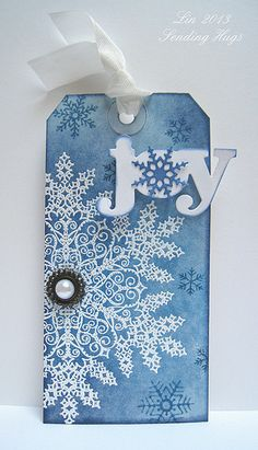 HA - dazzling snowflake stamp, white embossed, TH inks....gorgeous