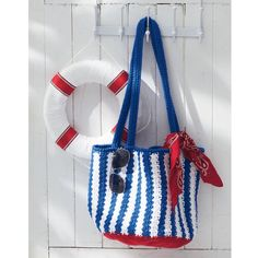 Flaunt your nautical style! Crochet this Lily® Sugar'n Cream® Nautical Striped Bag for beach, lake, shopping or sightseeing.