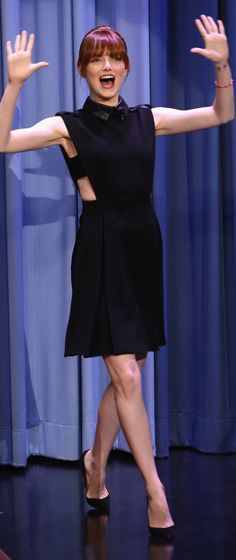 Emma Stone in Gucci at The Tonight Show Starring Jimmy Fallon.
