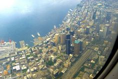 """A beautiful aerial view of the downtown area of Seattle, Washington, U.S.A. Image taken while on descent into the Seattle International Airport. """"Downtown Seattle"""" #DowntownSeattle #AerialCityOfSeattle #WillBorden"""