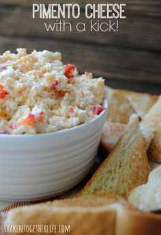 Give homemade pimento cheese a kick with pepperjack cheese! Use reduced fat cheeses if available, and reduced fat cream cheese/olive oil mayo for healthy twists. Homemade Pimento Cheese, Pimento Cheese Recipes, Pimiento Cheese, Appetizer Dips, Appetizer Recipes, Great Recipes, Favorite Recipes, Cheese Spread, Finger Foods