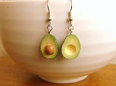 RESERVED  for Vicki Kawaii Food Earrings by SouZouCreations, $12.50  I LOVE Sofia's creations ~ and I eat an avocado a day ...Now I can wear them too :)