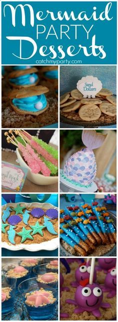 "Mermaid Party Desserts to give you ideas for your mermaid and under the sea birthday parties! | <a href=""http://CatchMyParty.com"" rel=""nofollow"" target=""_blank"">CatchMyParty.com</a>"