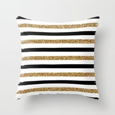 Black and Gold Throw Pillow by Monique Bellavia - $20.00  will throw a punch of fun and drama onto the bed #sarahrichardson